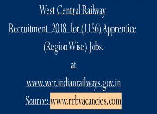 West Central Railway Recruitment 2018