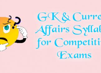 GK & Current Affairs Syllabus