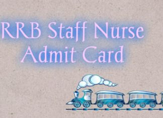 RRB Staff Nurse Admit Card