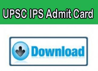UPSC IPS Admit Card