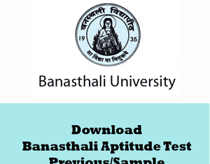 Banasthali Aptitude Test Question Papers